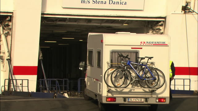 an rv boards a ferry in gothenburg, sweden. - ferry stock videos & royalty-free footage