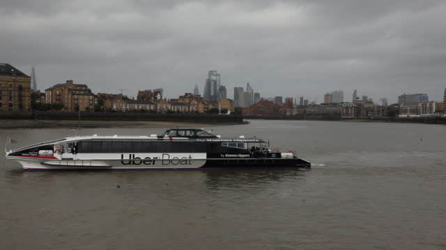 an uber boat by thames clippers, a partnership between uber technologies inc. and thames clippers, as uber launches a boat service on the river... - convenience stock videos & royalty-free footage