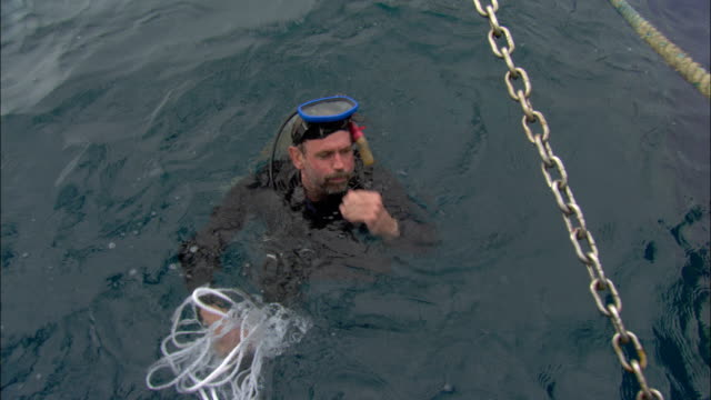 vídeos de stock, filmes e b-roll de an underwater diver emerges from the water and throws a rope onto a boat. - traje de mergulho