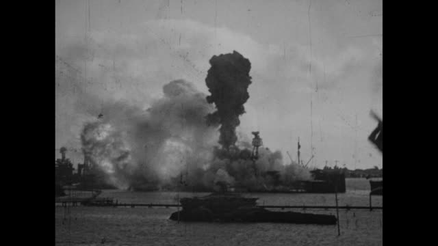 An unidentified ship cruises with land in the distance / USS Arizona is hit and explodes with billows of smoke and huge flames / VS antiaircraft...