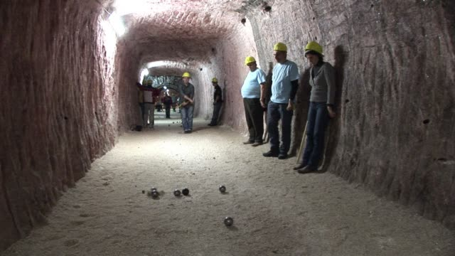 an unusual petanque tournament took place friday in the klodawa salt mine in poland 600 meters underground clean 600 metres down on december 08 2012... - contestant stock videos and b-roll footage