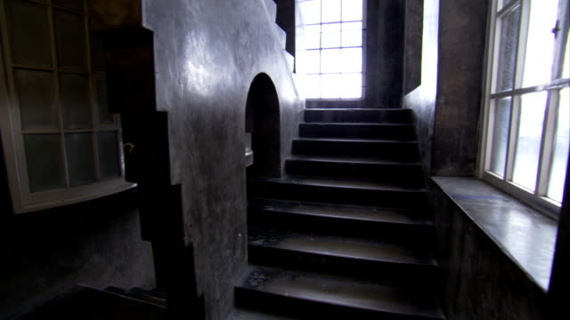 an unusual stairway at the glasgow school of art building demonstrates the influence of charles rennie mackintosh. available in hd. - charles rennie mackintosh stock videos and b-roll footage
