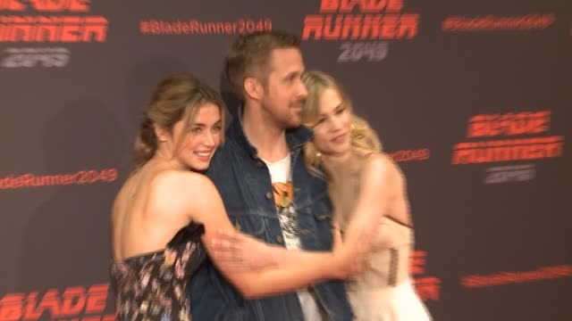 ana de armas ryan gosling and sylvia hoeks attend 'blade runner 2049' photocall at arts hotel - ryan gosling stock videos and b-roll footage