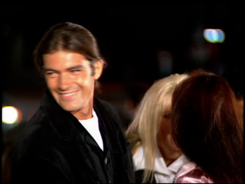 ana leza banderas and antonio banderas at the 'interview with the vampire' premiere at the mann village theatre in westwood california on november 9... - antonio banderas stock videos & royalty-free footage