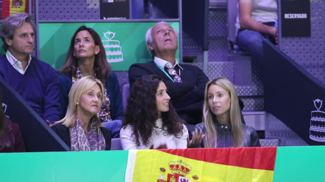 ana maria parera, mother of rafael nadal, xisca perello, wife of rafael nadal and maria isabel nadal, sister of rafael nadal of spain watch the... - davis cup stock-videos und b-roll-filmmaterial