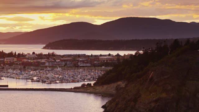 anacortes and the puget sound at sunset - aerial - anacortes stock videos & royalty-free footage