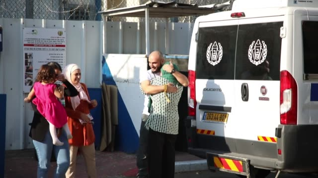anadolu agency's photojournalist mustafa kharouf was released from giv'on prison on october 24 2019 kharouf's wife tammam kharouf and his lawyer adi... - photojournalist stock videos & royalty-free footage