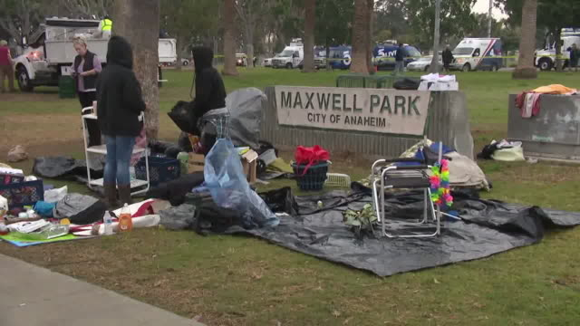 anaheim, ca, u.s - homeless people tents on roadside in orange county on monday, april 6, 2020. - anaheim california stock videos & royalty-free footage