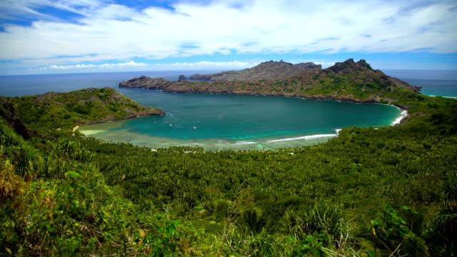 anaho nuku hiva ocean bay lush vegetation marquesas - polynesian ethnicity stock videos & royalty-free footage