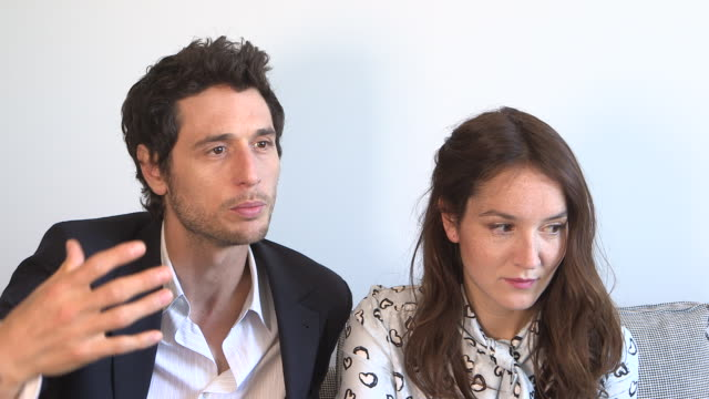 INTERVIEW Anais Demoustier Jeremie Elkaim on the lack of dialogues in the film at 'Marguerite Julien' Interviews on May 20 2015 in Cannes France