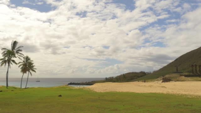Anakena beach and Ahu Nao-Nao landscape view