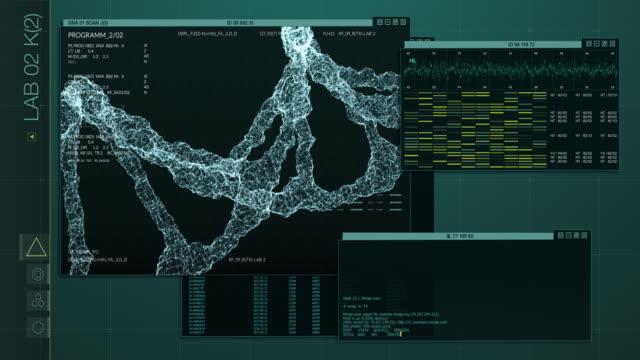 dna-analyse-schnittstellenmonitore - cerebellum stock-videos und b-roll-filmmaterial