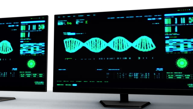 dna analysis interface monitors - dna test stock videos and b-roll footage