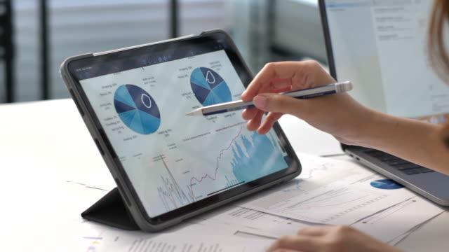 vídeos y material grabado en eventos de stock de análisis del proyecto de negocio en tabletas digitales - financial bill