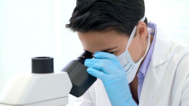 vídeos de stock, filmes e b-roll de analisar as amostras ao microscópio - olhando através