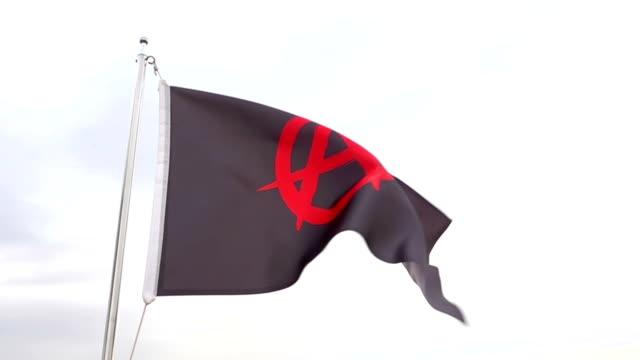 vidéos et rushes de drapeau anarchist - banderole signalisation