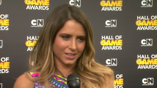 anastasia ashley on colin kaepernick and cam newton, on her favorite sport, and favorite cartoon at cartoon network hosts fourth annual hall of game... - barker hangar stock videos & royalty-free footage