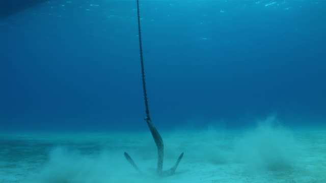 vídeos de stock e filmes b-roll de ms  anchor being dropped to ocean floor  audio / florida, united states - ancora