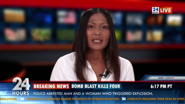 stockvideo's en b-roll-footage met hd: tv anchor bringing breaking news - persconferentie