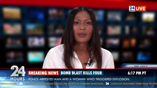 stockvideo's en b-roll-footage met hd: tv anchor bringing breaking news - terrorisme