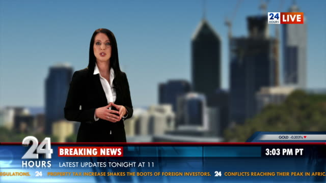 hd: anchor brings the latest business news - news event stock videos & royalty-free footage