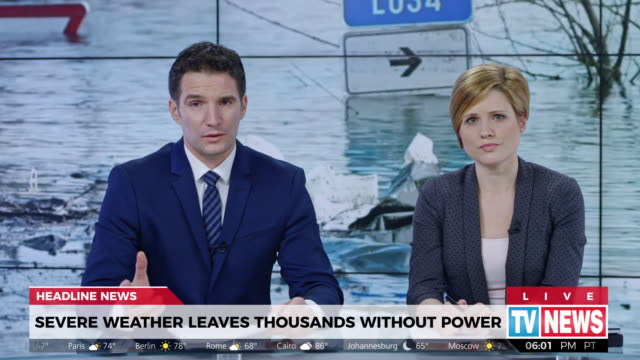ld anchor presenting latest news about severe weather causing power outage - western script stock videos & royalty-free footage