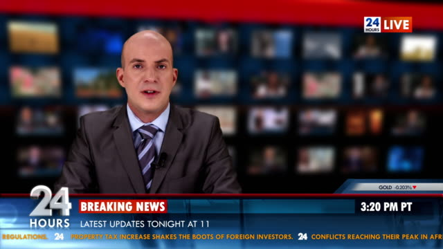 hd: anchor reading the breaking news - breaking news stock videos and b-roll footage