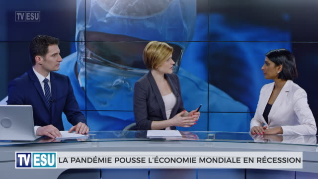 ld anchors and co-anchor discussing about global recession - french language stock videos & royalty-free footage