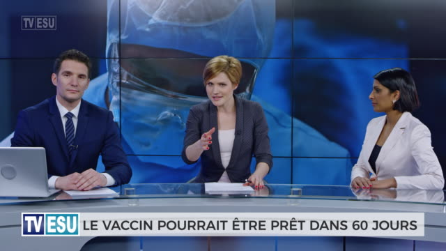 ld anchors and co-anchor discussing about vaccine accessibility - french language stock videos & royalty-free footage