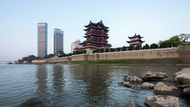 Ancient buildings in China, Pavilion of Prince Teng is late in the day and late in the night.