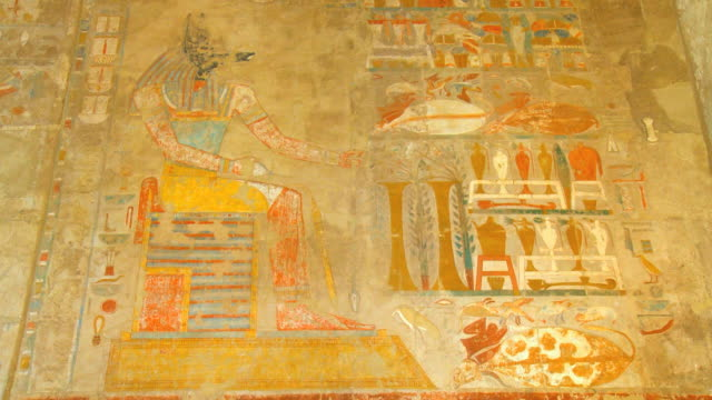 MS TU Ancient carving on walls of Hatshepsut's temple, Deir el-Bahri at Valley of Kings / Luxor, Egypt