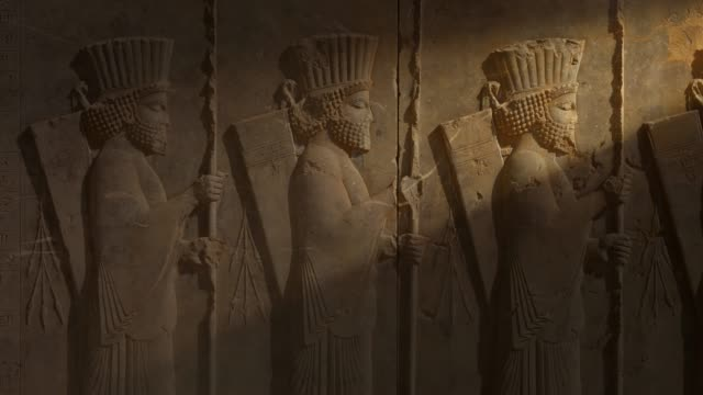 ancient carvings of persepolis in shiraz city, iran. - ancient civilisation stock videos & royalty-free footage
