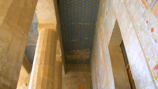 MS TU Ancient ceiling and wall paintings at temple of Queen Hatshepsut / Luxor, Egypt