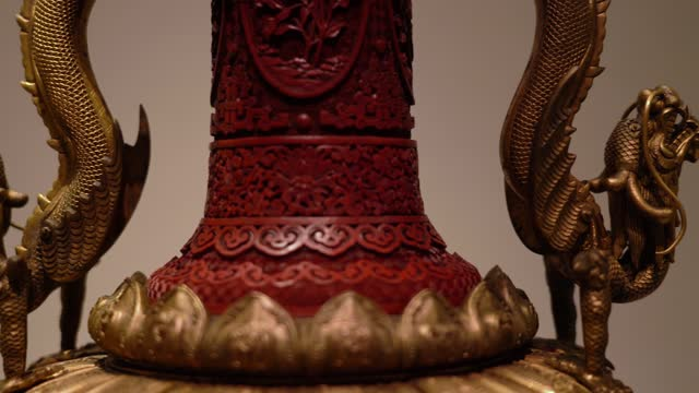 ancient china carved lacquer vase golden dragon handle close-up - vase stock videos & royalty-free footage