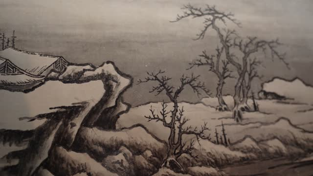 ancient chinese ink wash painting - antique stock videos & royalty-free footage