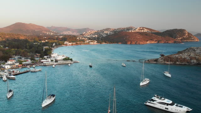 ancient city myndos on rabbit island and gumusluk seaside, bodrum, turkey - turchia video stock e b–roll