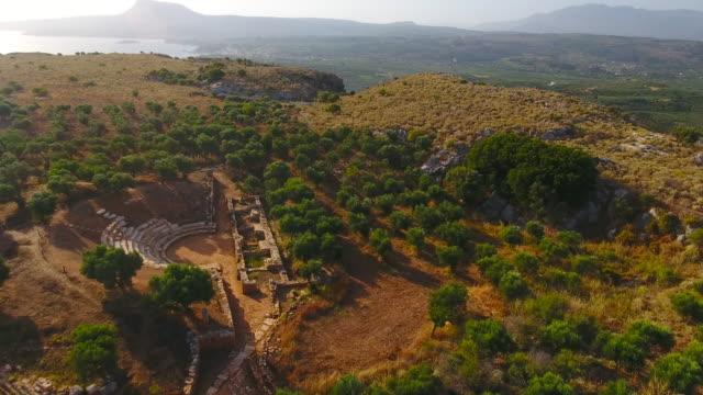 antika staden aptera, västra kreta, grekland. ruiner, archaeological site - grekland bildbanksvideor och videomaterial från bakom kulisserna