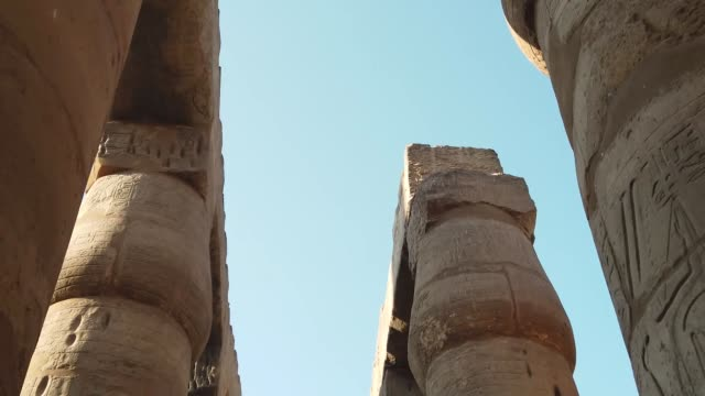 ancient columns in luxor temple, egypt - statue stock videos & royalty-free footage