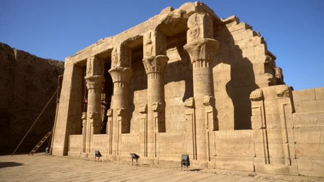 ancient columns of edfu temple in luxor. egypt - temples of karnak stock videos and b-roll footage