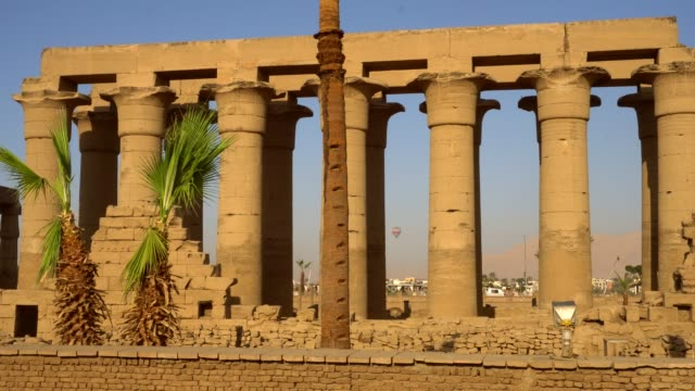 ancient columns of luxor temple in luxor. egypt - temples of karnak stock videos and b-roll footage