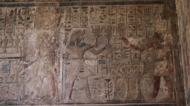 Ancient Egyptian hieroglyphics, tilt down