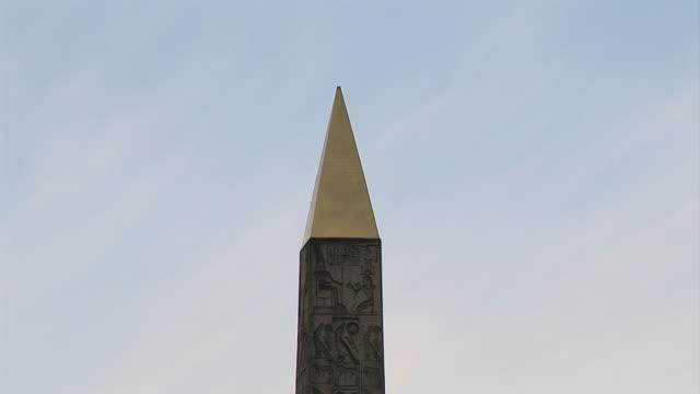 CU TD Ancient Egyptian obelisk in Place de la Concorde, Paris, Ile de France, France