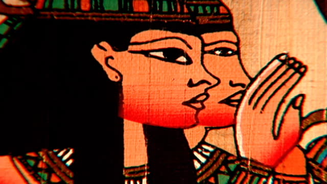 ancient egyptian women cu modern drawing on papyrus of two women - profile stock videos & royalty-free footage