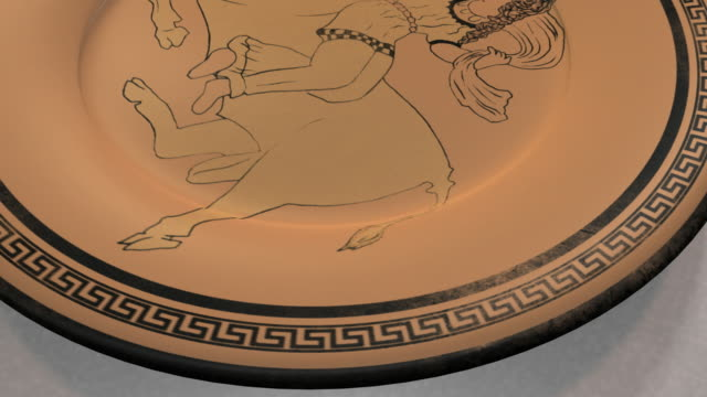 """cu, zo, ancient greek ceramic plate with representation of kidnapping of europa"""" myth - greek culture stock videos & royalty-free footage"""