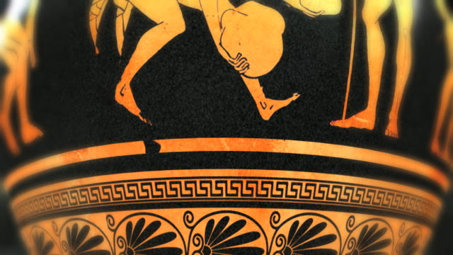 cu, ancient greek ceramic vase with representation of athletes - arte dell'antichità video stock e b–roll
