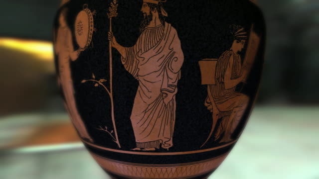cu, ancient greek ceramic vase with representation of female dancers - arte dell'antichità video stock e b–roll