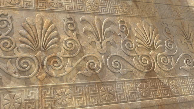 cgi, pan, ancient greek ornament engraved in stone - ornament stock videos and b-roll footage