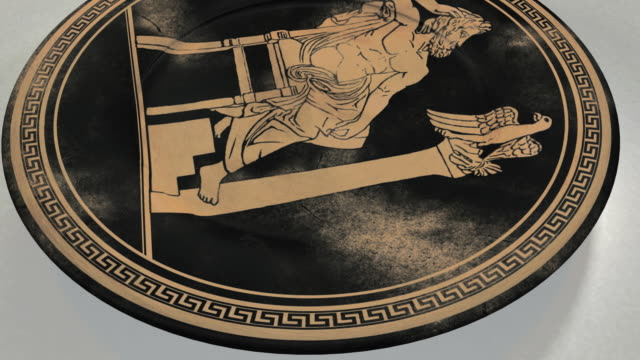 vídeos de stock e filmes b-roll de cgi ancient greek plate decorated with meander and painting of zeus - column