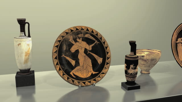 vidéos et rushes de cgi ancient greek pottery - ornement