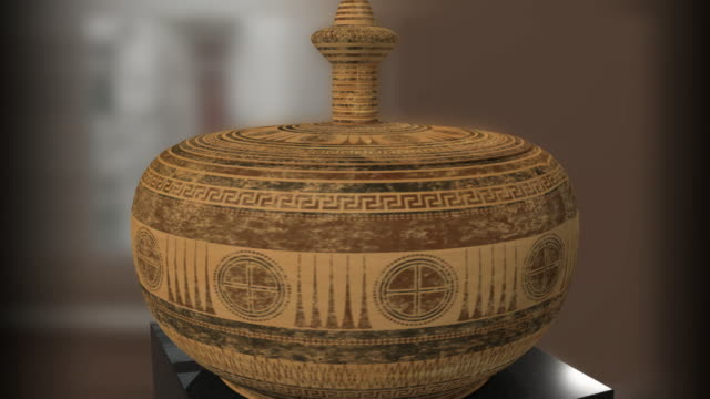 cu cs, ancient greek pyxis with paintings of geometric period, agia paraskevi, athens, greece - vase stock videos & royalty-free footage